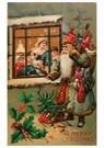Anonymus  -  Kerstman met cadeaus voor een huis - Postkaart -  A100365-1