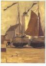 Gijs Bosch Reitz (1860-1938)  -  Visbommen op het strand voor de kerk in Katwijk, c - Postkaart -  A10215-1