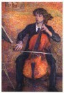 Jo Koster (1868-1944)  -  Cello spelende vrouw - Postkaart -  A10432-1