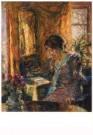 Gotthardt Kuehl (1850-1915)  -  Fruhling im zimmer - Postkaart -  A10448-1