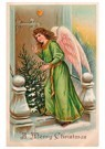 Anonymus  -  Kerstengel staat met kerstboom voor de deur - Postkaart -  A105275-1