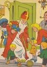 A.N.B.  -  Sinterklaas en zwarte piet komen binnen met cadeaus - Postkaart -  A106927-1