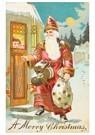 Anonymus  -  Kerstman staat voor de deur met cadeaus - Postkaart -  A107259-1