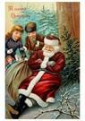 Anonymus  -  Kinderen lopen naar kerstman toe die ligt te slapen - Postkaart -  A107853-1