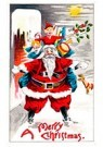 Anonymus  -  Kerstman met cadeaus staat op een dak met sneeuw - Postkaart -  A108940-1