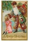 Anonymus  -  Kerstman brengt cadeaus bij een meisje - Postkaart -  A110408-1