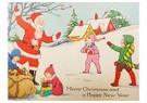 Anonymus  -  Kinderen spelen met de kerstman in de sneeuw - Postkaart -  A110556-1