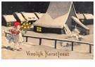 Anonymus  -  Jong meisje dat loopt in de sneeuw met een kerstboom - Postkaart -  A113915-1