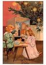 Anonymus  -  Kinderen spelen bij de kerstboom - Postkaart -  A114154-1