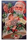 Anonymus  -  Kerstman met een pijp in zijn hand achter een kerstbel - Postkaart -  A114912-1