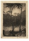 Jan Mankes (1889-1920)  -  Beekje bij avond (twee boompjes aan het water), 1916 - Postkaart -  A115942-1