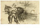Theo van Doesburg (1883-1931)  -  Man met paard en wagen of schuit, 1905 - Postkaart -  A117095-1
