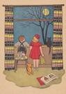 A.N.B.  -  Twee kinderen en een kat wachten voor het raam op Sinterklaa - Postkaart -  A118329-1
