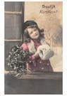 Anonymus  -  Jong meisje met kersttakken in een sneeuwlandschap - Postkaart -  A118518-1