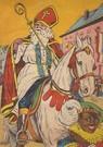 Anonymus  -  Sinterklaas en zwarte piet gaan door de straat - Postkaart -  A118960-1