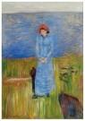 Edvard Munch (1863-1944) - Vrouw met rode hoed bij de fjord - Postkaart - A11896-1