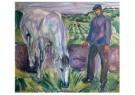 Edvard Munch (1863-1944) - Man met paard, 1918 - Postkaart - A11902-1