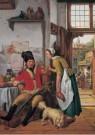 Abraham van Strij (1753-1826)  -  Interieur met soldaat en dienstmeid, 1825 - Postkaart -  A12024-1