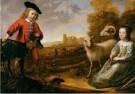 Albert Cuyp (1620-1691)  -  Twee kinderen met vee in een landschap - Postkaart -  A12034-1