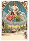 Anonymus  -  Engelen boven een winterlandschap met dennebomen - Postkaart -  A120364-1