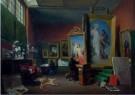 Arie Lamme (1748-1801)  -  Ary Scheffer aan het werk in het grote atelier bij - Postkaart -  A12044-1