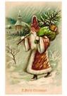 Anonymus  -  Kerstman met cadeaus loopt door de sneeuw - Postkaart -  A122803-1