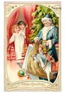 Anonymus  -  Kinderen komen de kamer binnen en zien de kerstman - Postkaart -  A123610-1