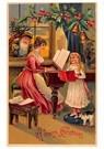 Anonymus  -  Kerstman kijkt hoe moeder en kind muziek maken - Postkaart -  A124971-1