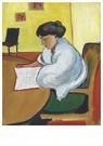 August Macke (1887-1914)  -  Lesende Frau - Postkaart -  A12595-1