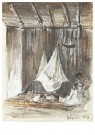 Camille Pissarro (1830-1903)  -  The Interior Of A Hut With A Hammock And An Indian Mother Wi - Postkaart -  A12730-1