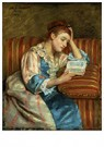 Mary Cassatt (1844-1926)  -  Mrs. Duffee Seated On A Striped Sofa, Reading - Postkaart -  A12949-1
