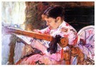 Mary Cassatt (1844-1926)  -  Lydia At The Tapestry Loom - Postkaart -  A13023-1