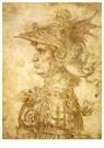 Leonardo da Vinci (1452-1519)  -  Profiel van een krijger in helm, 1472 - Postkaart -  A13540-1