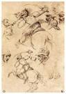 Leonardo da Vinci (1452-1519)  -  Studie van veldslagen te paard, 1504 - Postkaart -  A13611-1