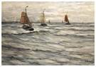 Hendrik W. Mesdag (1831-1915)  -  Vissersvaartuigen Voor De Kust Van Scheveningen - Postkaart -  A16098-1