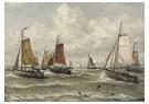 Hendrik W. Mesdag (1831-1915)  -  Vissersvloot Te Scheveningen: Een Scheveningse Visserijvloot - Postkaart -  A16155-1