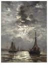 Hendrik W. Mesdag (1831-1915)  -  Op Het Strand Liggende Bomschuiten (Door Maanlicht) - Postkaart -  A16168-1