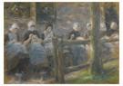 Max Liebermann(1847-1935)  -  Nähende Mädchen In Huizen (Sewing Girls In Huyzen) - Postkaart -  A17153-1