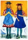 Edvard Munch(1863-1944)  -  Two Girls With Blue Aprons - Postkaart -  A18261-1