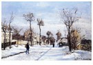 Camille Pissarro (1830-1903)  -  Street In The Snow, Louveciennes, 1872 - Postkaart -  A19393-1