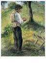 Camille Pissarro (1830-1903)  -  Father Melon Lighting His Pipe, C.1879 - Postkaart -  A19943-1