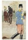 Théophile Steinlen(1859-1923)  -  Officier Fumant, Cavalière À L'Arrière-Plan - Postkaart -  A22222-1