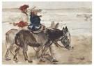 Isaac Israels (1865-1934)  -  Ezelrit Op Het Strand, Scheveningen - Postkaart -  A24585-1