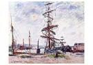 Gustave Loiseau (1865-1935)  -  Boats at Dock in Le Havre, 1912 - Postkaart -  A32585-1