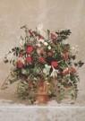 -  Rood-wit kerstbloemstuk in terracotta tuinvaas - Postkaart -  A3648-1