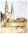 Gustave Loiseau (1865-1935)  -  The Chartres Cathedral, circa 1931 - Postkaart -  A39987-1