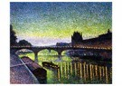 Maximilien Luce (1858-1941)  -  The Louvre and Pont du Carrousel: Night Effect, 1890 - Postkaart -  A48690-1