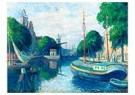 Maximilien Luce (1858-1941)  -  Barges on a Canal at Rotterdam, 1908 - Postkaart -  A49183-1