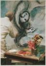 Marc Chagall (1887-1985)  -  Marc Chagall (1887-1985) werkt aan 'Die Zauberflot - Postkaart -  A4943-1