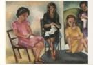 Else Berg (1877-1942)  -  4 bordurende meisjes - Postkaart -  A5394-1